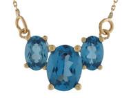 Collar Magnifico De Dama Con Tres Gemas De Topacio Azul Simulado En Oro De (OM#9995)