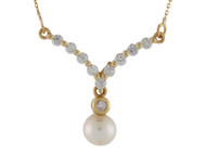 Collar En Forma De V Para Dama Con Perla De Agua Dulce Y Circonita En Oro De (OM#9996)