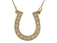 Collar De Suerte De Dama 1.5cm De Largo Herradura Con Diamantes En Oro (OM#9998)