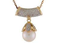 Colgante De Dos Peizas Con Perla De Agua Dulce Y Diamantes En Oro De 2 Tonos (OM#10000)