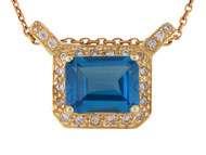 Colgante De Dama Rectangular Con Circon Azul Simulado Y Circonita En Oro (OM#10016)