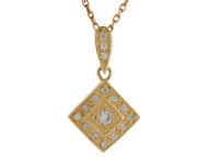 Colgante De Dama En Forma De Diamante Con Circonita En Oro Amarillo De (OM#10017)