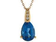 Colgante Clasico De Dama Circon Azul Simulado En Forma De Gota En Oro De (OM#10022)