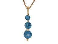Colgante Para Dama Con Tres Gemas De Circon Azul Simulado En Oro De (OM#10024)