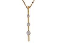 Colgante De Dama Estillo Barra Con Tres Gemas De Circonita Blanca En Oro De (OM#10026)