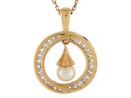 Colgante Circular Para Dama Con Perla De Agua Dulce Y Circonita En Oro De (OM#10029)