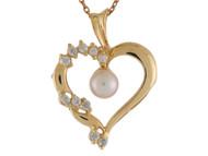 Colgante De Dama Estilo Corazon Con Perla De Agua Dulce Y Circonita En Oro (OM#10030)