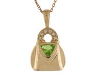 Colgante De Dama Estilo De Bolso Con Diamantes Y Peridoto Real En Oro De (OM#10034)