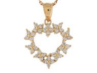 Colgante De Dama Estilo Corazon Con Circonita Blanca En Oro Amarillo De (OM#10199)