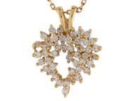 Colgante Hermoso En Forma De Corazon Con Circonita Brillante En Oro De (OM#10203)