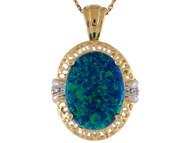 Colgante De Dama Con Opalo Verde Azul Simulado Y Circonita En Oro De 2 Tonos (OM#10206)