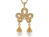 Colgante De Dama Hermoso Con Perlas De Agua Dulce Y Circonita En Oro Real De (OM#10210)