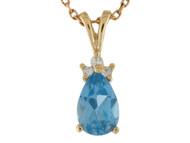 Colgante En Forma De Pera Con Diamantes Y Topacia Azul En Oro (OM#10215)