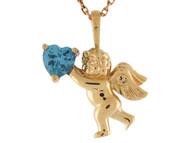 Colgante Estilo Angel Querubin Con Corazon De Aguamarina Simulada En Oro De (OM#10261)