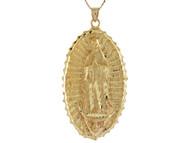 Colgante Hermoso Diamantado De La Virgen Maria De Guadalupe En Oro Amarillo De (OM#10674)