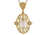 Colgante De Filigrana Con Perla Cultivada De Agua Dulce Y Diamantes En Oro Real (OM#10684)