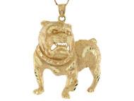 Colgante Grande Diamantado De Perro Canino En Oro Real De (OM#10685)