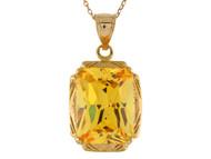 Colgante Elegante Para Dama Acentuado Con Citrino Simulado En Oro Amarillo De (OM#10690)