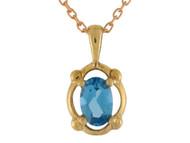 Colgante Elegante Para Dama Con Circon Azul Simulado En Oro De (OM#10692)