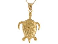 Colgante Lindo De Tortuga Marina En Oro Amarillo De (OM#10694)