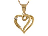 Colgante De Diseno Deslumbrante De Corazon Con Diamante Real En Oro Amarillo De (OM#10695)