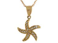 Colgante Lindo De Estrella De Mar Marina Acentuada Con Circonita En Oro De (OM#10697)