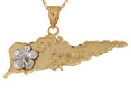 Colgante Diamantado De Isla De St Croix Con Flor En Oro De Dos Tonos De (OM#10706)
