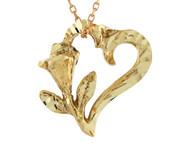 Colgante Brillante Diamantado En Estilo De Corazon Y Flor En Oro Amarillo De (OM#10709)