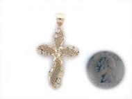 Colgante Diamantado De Estilo Cruz Con Circonita Blanca En Oro Amarillo (OM#1400)