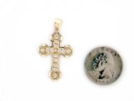 Colgante Diamantado De Estilo Cruz Con Circonita Blanca En Oro Amarillo (OM#1401)