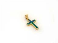 Colgante Estilo Cruz Con Opalo Verde Azul Simulado En Oro Solido Amarillo De 14k (OM#1440)