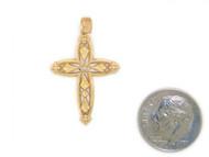 Colgante Diamantado De Estilo Cruz Con Diamantes Reales En Oro Amarillo De (OM#1751)