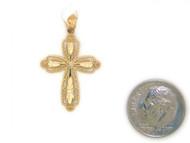 Colgante Diamantado De Estilo Cruz Con Diamantes Reales En Oro Amarillo De (OM#1752)