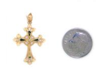 Colgante Diamantado De Estilo Cruz Con Diamantes Reales En Oro Amarillo De (OM#1753)