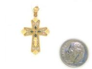 Colgante Diamantado De Estilo Cruz Con Diamantes Reales En Oro Amarillo De (OM#1754)