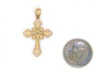 Colgante Diamantado De Estilo Cruz Con Diamantes Reales En Oro Amarillo De (OM#1755)