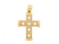 Colgante Diamantado Religioso De Estilo Cruz Con Circonita En Oro Amarillo De (OM#1799)