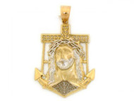 Colgante Chico Estilo Jesus Con Cruz Ancla Y Circonita En Oro De 2 Tonos (OM#1811)
