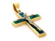 Colgante De Jesus Crucifijo Cruz Con Opalo Verde Azul Simulado En Oro De (OM#1820)