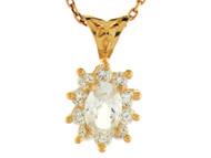 Colgante De Dama Con Circonita Blanca Radiante De Abril En Oro De (OM#2348)