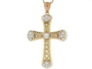 Colgante De Cruz Diamantada Con Circonita En Oro De Dos Tonos De (OM#2491)