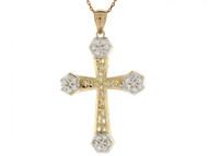 Colgante De Cruz Diamantada Con Circonita En Oro De Dos Tonos De (OM#2493)