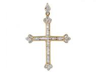Colgante De Cruz Con Diamantes Reales En Oro De Dos Tonos De 14k (OM#2566)