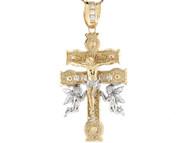 Colgante De Crucifijo Caravaca Con Jesus Angeles Y Circonita En Oro 2 Tonos De 10k (OM#2787)