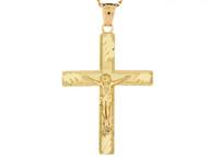 Colgante De Crucifijo Con Corte De Diamante En Oro De (OM#3116)
