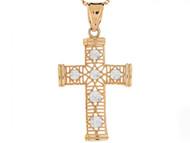 Colgante Diamantado De Cruz Religioso De Feligrana En Oro De Dos Tonos De (OM#3127)