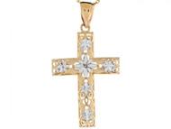 Colgante Diamantado De Cruz Religioso De Feligrana En Oro De Dos Tonos De (OM#3128)