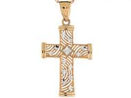 Colgante Diamantado De Cruz Religioso De Feligrana En Oro De Dos Tonos De (OM#3130)