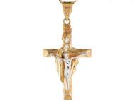Colgante Con Circonita Crucifijo Cruz Sudario Jesus En Oro De Dos Tonos De (OM#3134)