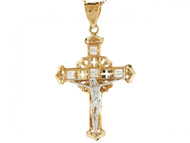 Colgante De Cruz Jesus Circonita Crucifijo Filigrana En Oro De Dos Tonos De (OM#3139)